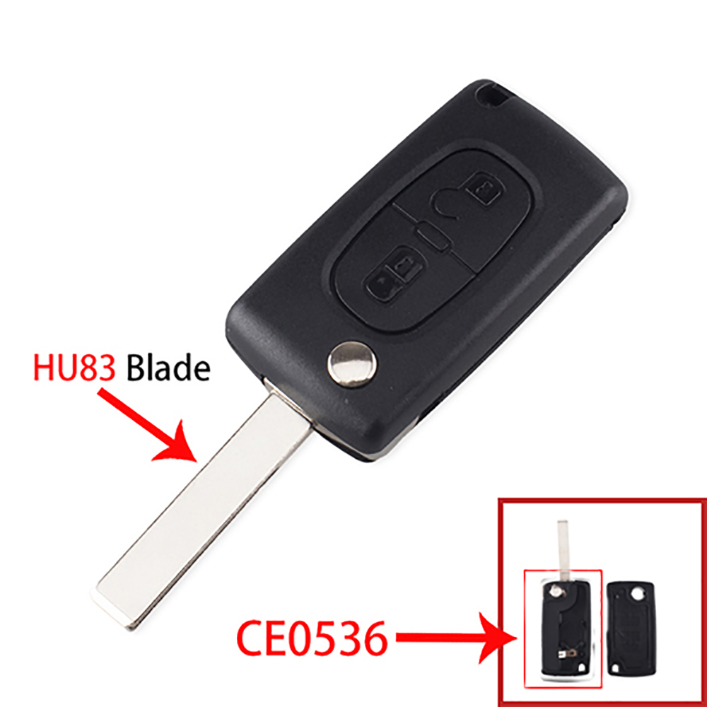 Dandkey 2 Buttons For Peugeot 307 408 308 3008 Fob CE0536 CE0523 Remote Car Key Replacement Shell Case With VA2 Blade HU83 Blade