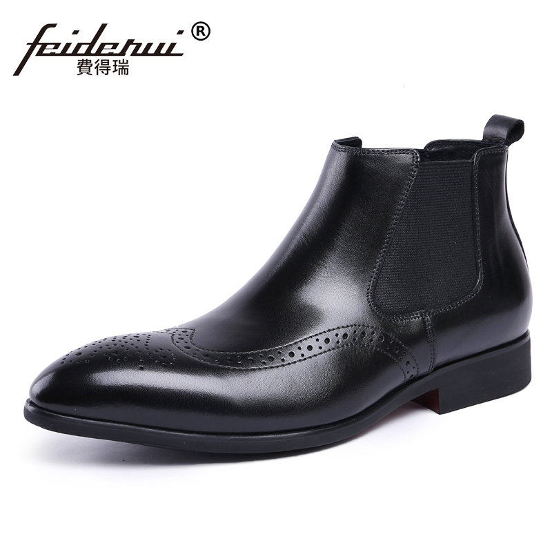 British Designer Man Handmade Carved Martin Brogue Shoes Genuine Leather Wingtip Men's Cowboy Riding Chelsea Ankle Boots JS91 luxury brand formal designer british man shoes genuine leather handmade men s chelsea cowboy martin ankle boots jd67