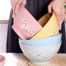 5/6/8 Inch Japanese Cherry Blossom Ceramic Ramen Bowl Large Instant Noodle Rice Soup Salad Bowl Container Porcelain Tableware classical cherry blossom ceramic bowl set with bamboo chopstick fruit salad rice soup ramen bowl water tea cup kitchen tableware