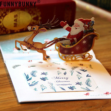 FUNNYBUNNY  3D Pop Up Santa Claus Reindeer Sled New Year Greeting Card Christmas Postcard