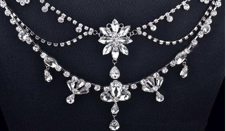 Image 4 - New Fashion Bride Jewelry Vintage shoulder Chains big Necklaces  Pendant Long Necklace Wedding Shoulder strap Bridal AccessoriesChain  Necklaces