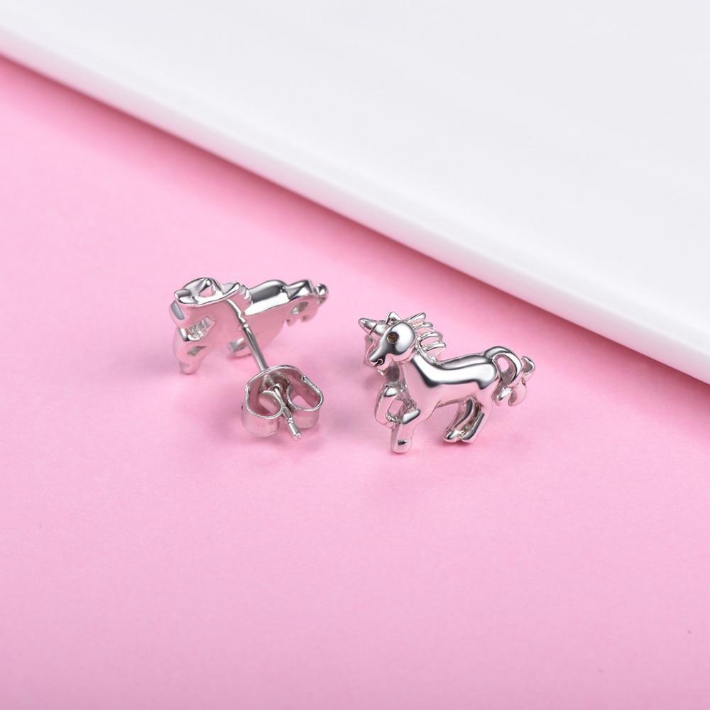Silvercute Little Horse Stud Ականջօղեր կանանց - Նուրբ զարդեր - Լուսանկար 3