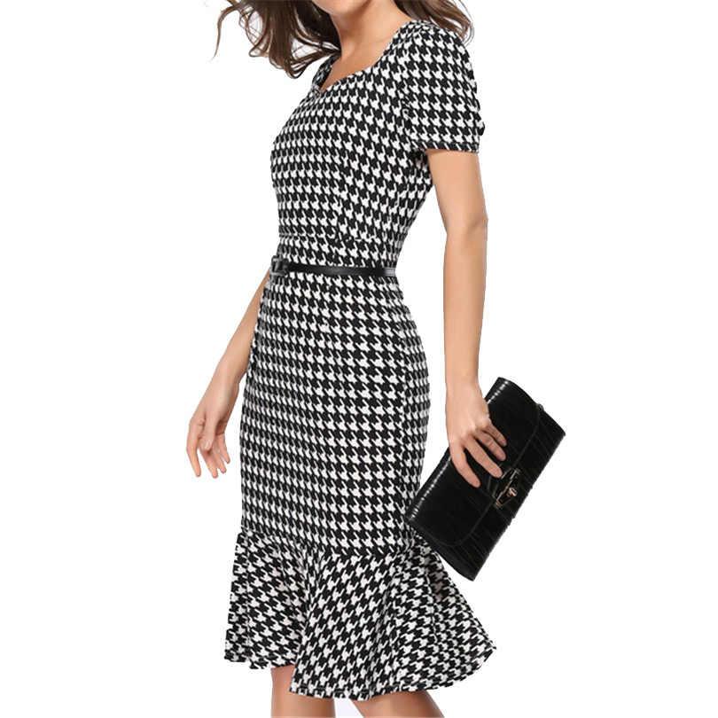 Женское элегантное платье для похудения летнее офисное платье с гусиной лапой женское сексуальное платье с юбкой-годе для вечеринок Туника обтягивающее платье Vestidos