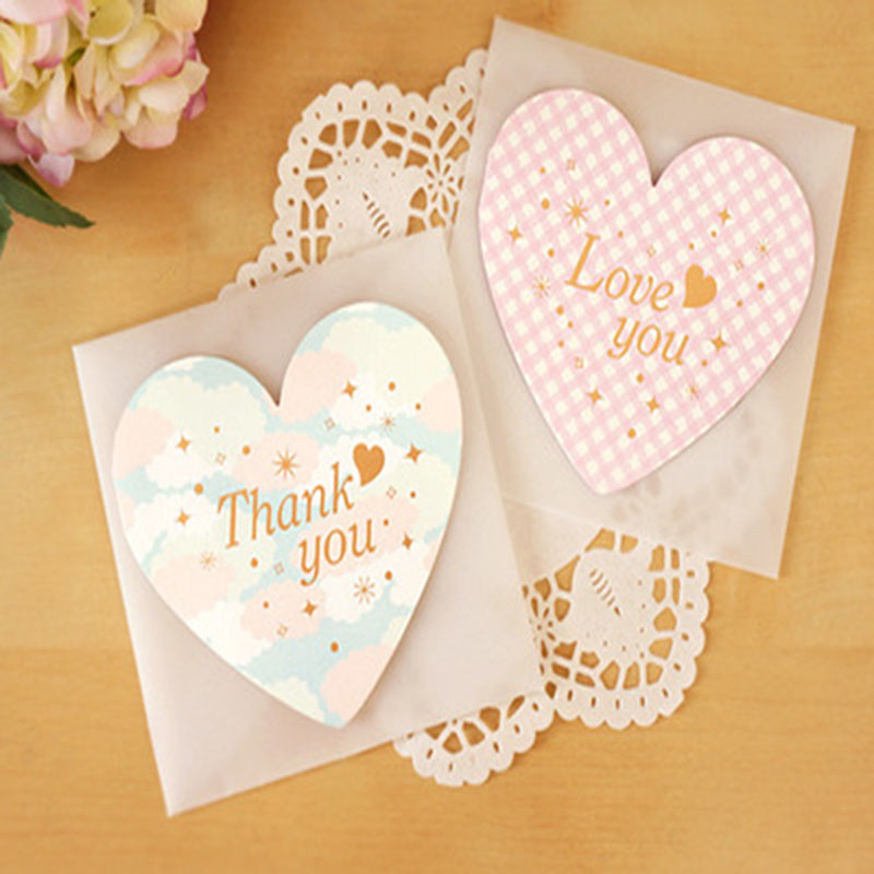 2pcs Love Greeting Cards Message Write Notepad Thank You Blessing Cards Festival Gifts Valentines Paper Card+Envelop+Seal Sticky