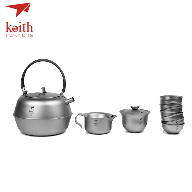Keith Titanium 12 pièces en 1 chinois KongFu thé Set crépine Portable en plein air Camping tasse Drinkware ultraléger 1.5L 522g Ti3930 - 2