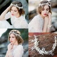 2016 Handmade Pearl Crystal Bridal Headband Tiara Wedding Hair Accessories Elegant Headpiece