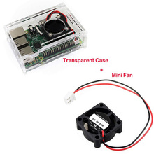 Hot Raspberry Pi 3 Transparent Acrylic Case Protective Cover Box with Mini Fan for Raspberry Pi 2 Model B and B+ (B Plus) Board