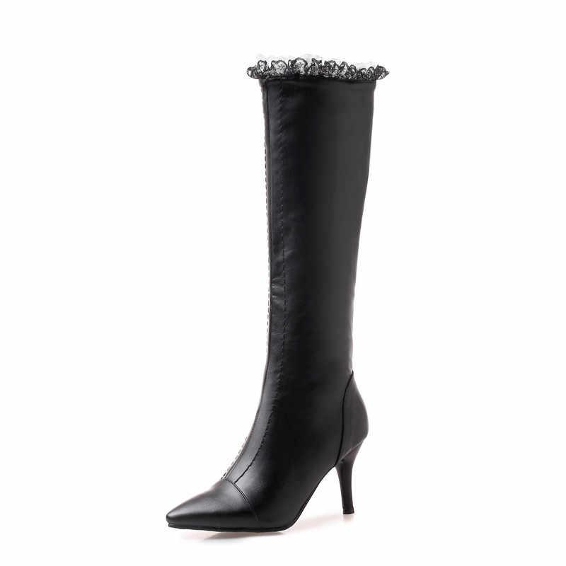 ผู้หญิงรองเท้าเข่าสูง Slim Lace ตกแต่ง Pointed toe ส้นสูงรองเท้าสุภาพสตรีฤดูหนาว Plus ขนาด 32-43