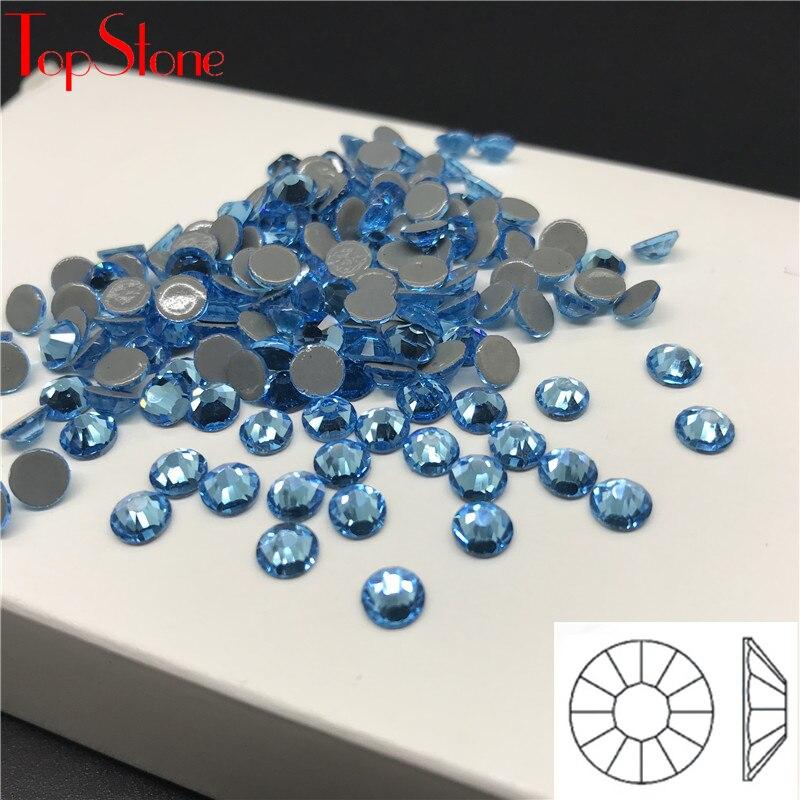 TopStone Aquamarine HotFix Rhinestones Flatback Glass Crystal Iron On Stone For Luxury Dress Clothing ss6-ss30