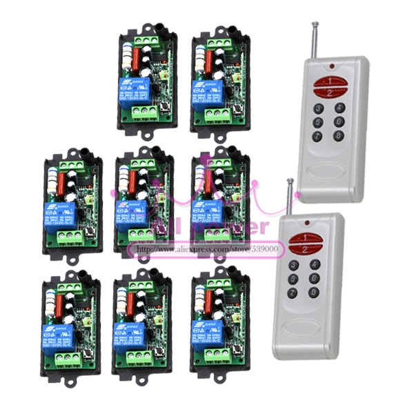 Top Quality 110V  220V 315HZ 1-Channel RF Digital Wireless 2*Remote Control 8*Switch Power for Lighting 200M Range Controlling 2 channel wireless digital remote control switch white black multi colored