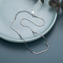 Fengxiaoling 925 Sterling Silver Necklace High Quality Simple Oblate Round Beads Silver Necklace Fine Jewelry For Women