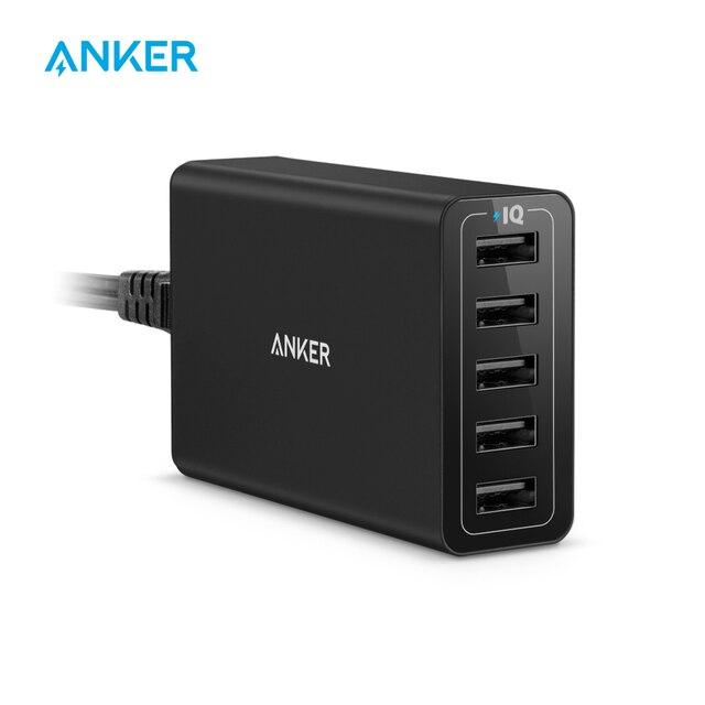 Anker 40W 5 Port USB duvar şarj cihazı, PowerPort 5 için, iPad Pro/hava, galaxy S9/S8/kenar/artı, not 8/7, Nexus HTC LG ve daha fazlası