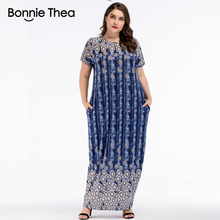 Women summer blue Print Casual Cotton Plus Size maxi Dress Short sleeve O-Neck  Floor-Length big size long dress Vestidos 2018 short sleeve white lotus printing o neck women dresses casual cotton linen knee length dress vestidos summer plus size