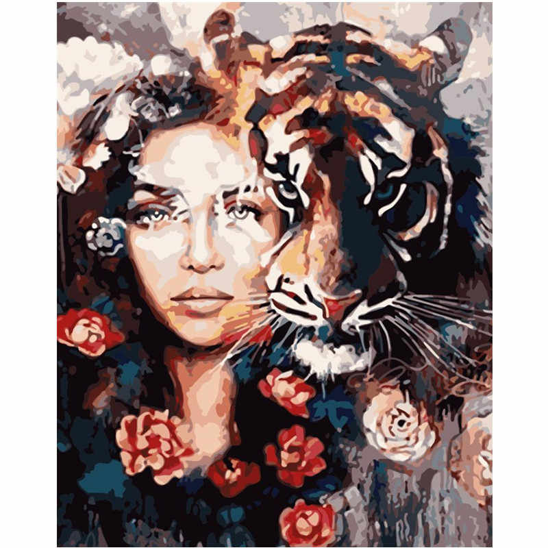 Painting By Numbers DIY Dropshipping 40x50 60x75cm Tiger and beautiful girl Figure Canvas Wedding Decoration Art picture Gift
