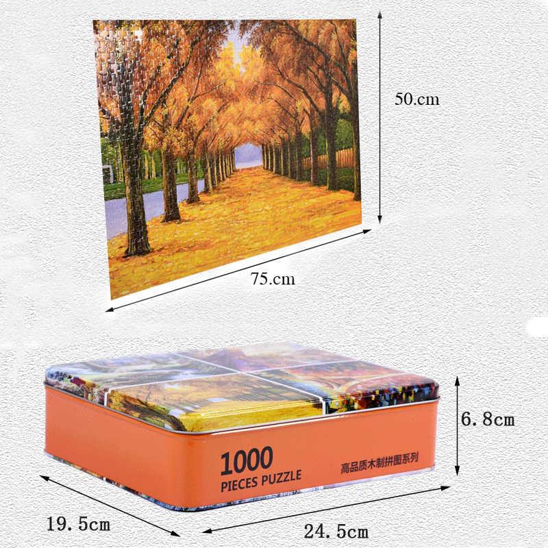 Деревянные деревянные пазлы 1000 шт, Деревянные железные коробки, пазлы для взрослых, разные сценические стили, Детские обучающие игрушки