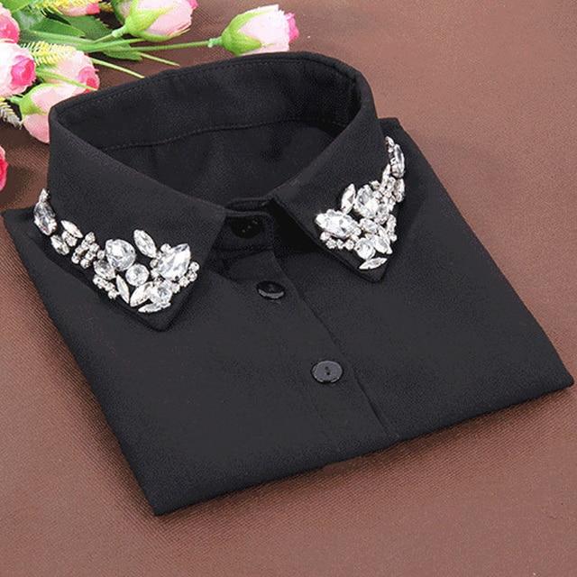 韓国ファッションホワイトハーフシャツ取り外し可能な高,グレードクリスタル女性ブラウス偽襟