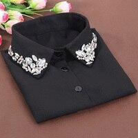 Korean Fashion White Half Shirt Detachable High Grade Crystal Female Blouse Fake Collar Blouses Peter Pan
