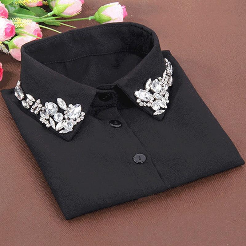 Korean fashion White Half Shirt Detachable High-grade crystal female blouse Fake collar Blouses Peter pan Detachable Collar
