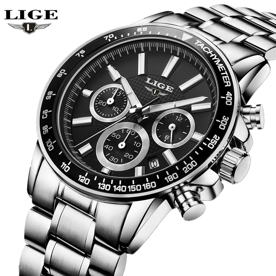 LIGE Mens Watches Top Brand Luxury Quartz Watch Mens Hour Date Clock Leather Strap Fashion Casual Watch Men Military Wrist Watch new curren mens casual watches top brand luxury wrist watches male clock men leather strap analog quartz military watch gift