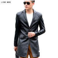 Plus Size 4XL 5XL Leather Coat Long Jacket Men Motorcycle Leather Jackets Casual PU Trench Coat Men's Faux Leather Overcoats