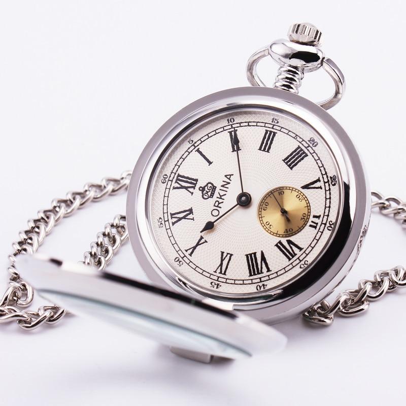 Orkina Men s Retro Pocket Watch Roman White Dial Stainless steel Smooth Silver Case Quartz Pendant
