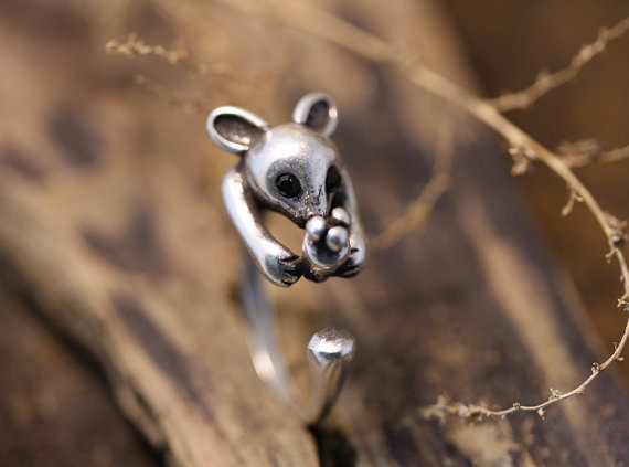 Wholesale Retro Baby Kangaroo Ring Adjustable Animal Ring Antique Silver tone Jewelry–12pcs/lot –Factory Direct Sale