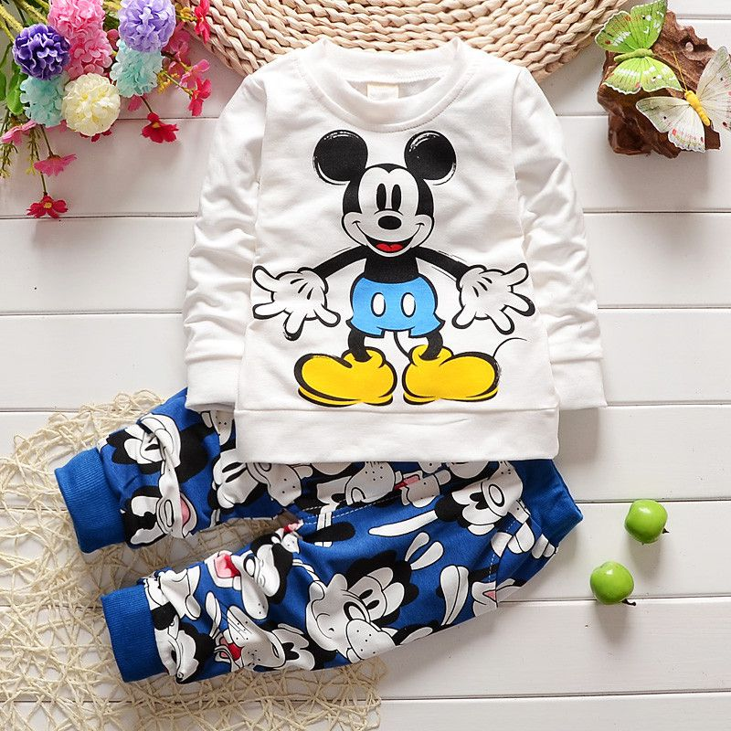 Good Baby boy clothes Mickey Long Sleeve Pants sets children cartoon animal suit baby girls summer vetement bebe infant clothing футболка для мальчиков children boy clothes camisa 100% vetement garcon enfant girls tee shirts