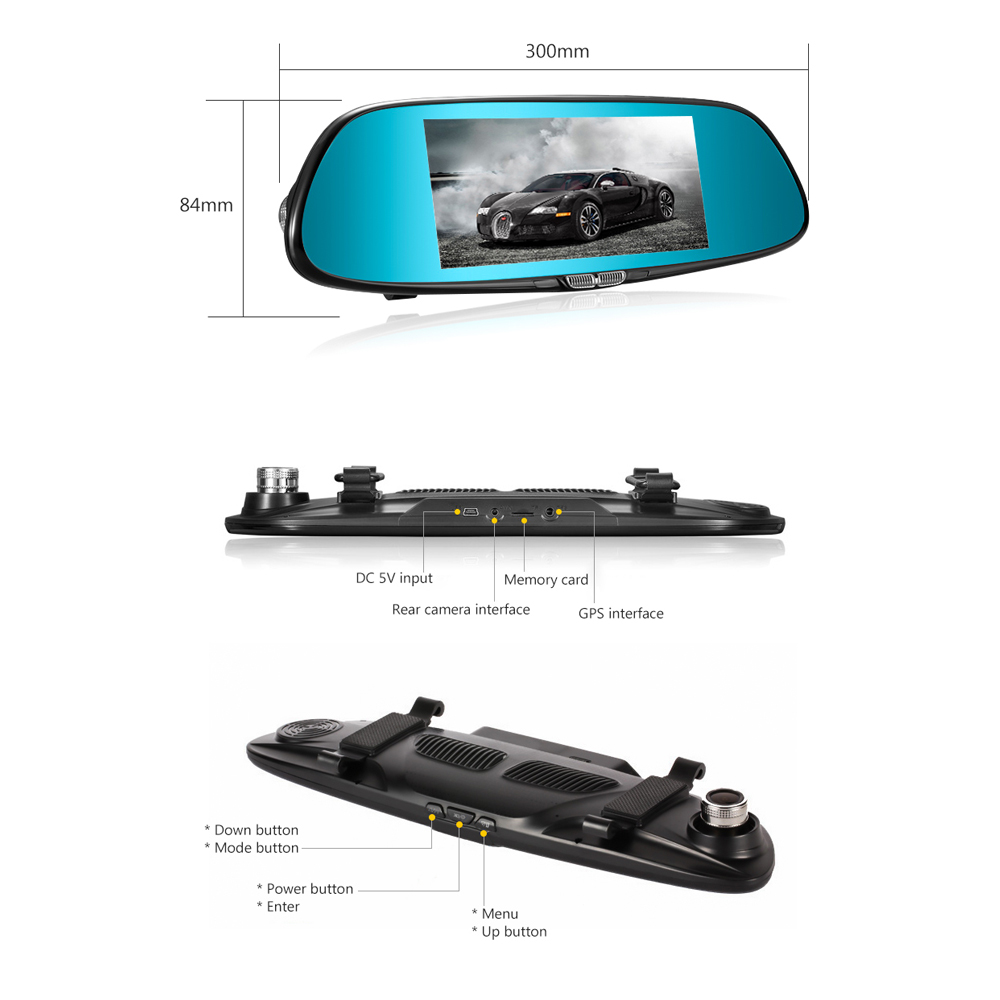 Image 2 - AOSHIKE 7 Inch Rearview Mirror Driving Recorder 1080P High Definition Night Vision Double Recording Reverse Driving  Car DVR-in DVR/Dash Camera from Automobiles & Motorcycles