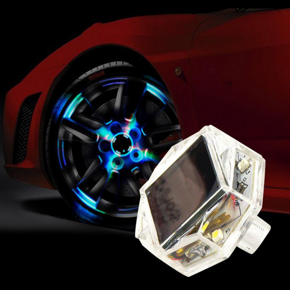 1 Pcs Solar LED Car Wheel Signal Light Tire Air Valve Cap Universal Flash Decor Lamp High Brightness Chips To Avoid Accidents