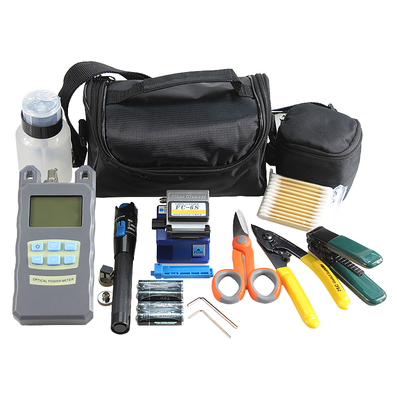 16type Fiber Optic FTTH Tool Kit with Fiber Cleaver and Optical Power Meter Visual Fault Locator