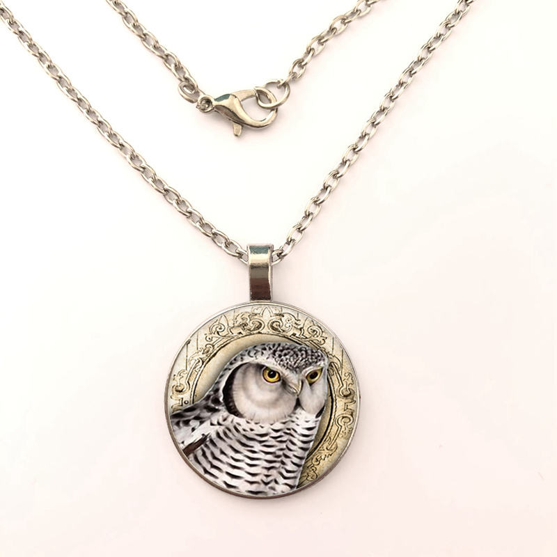 2019 new fashion style cartoon Lovely Owl Round Glass Pendant Necklace long metal necklace jewelry gift in Pendant Necklaces from Jewelry Accessories