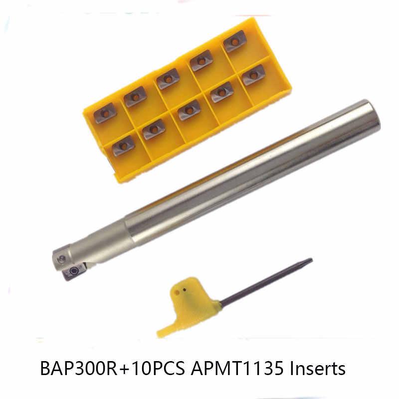 10 pièces APMT1135 CNC Carbure Inserts et 1 pièces BAP300R C10 C12 C14 C16 C20 Indexables CNC Porte-Fraise CNC fraise ensemble