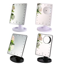 360 Countertop Degree Rotation LED Touch Screen Makeup Mirror Professional Vanity Mirror With 22 LED Lights Beauty Adjustable