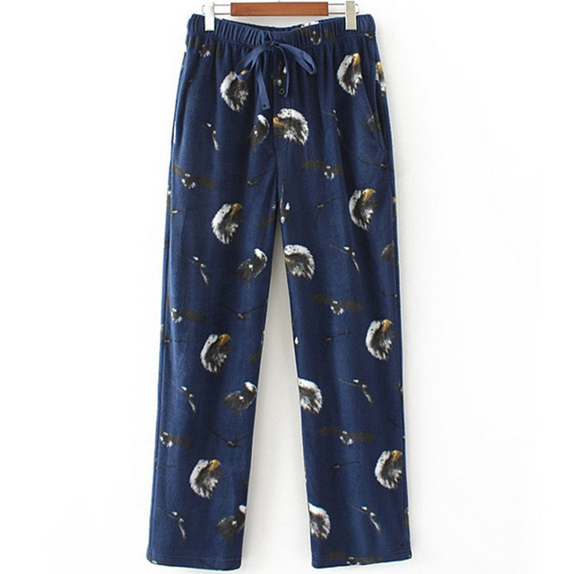 Men's Sleep pants winter trousers printing Flannel pants Animal Sleep Bottoms Men Casual and warm trousers
