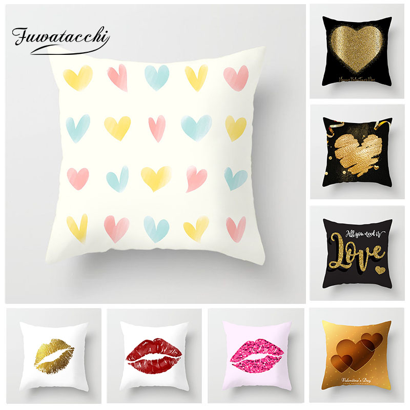 Fuwatacchi Love Heart Style Cushion Cover Kiss Printed Pillow Festival Gifts for Sofa Car Decorative Pillowcases Hot