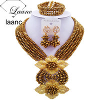 Laanc Fashion Golden Color Nigerian Necklace Jewelry Set African Wedding Beads Crystal Beads Jewelry Sets 6CHLK017
