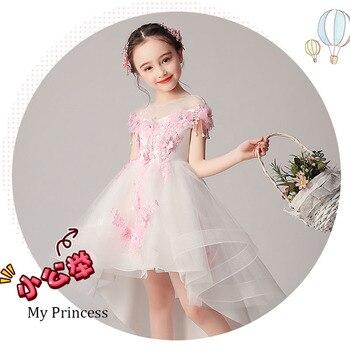 Vestidos de flores blancas para Niñas para boda de tul de encaje largo vestido de fiesta de Navidad vestido de princesa para niños 12T