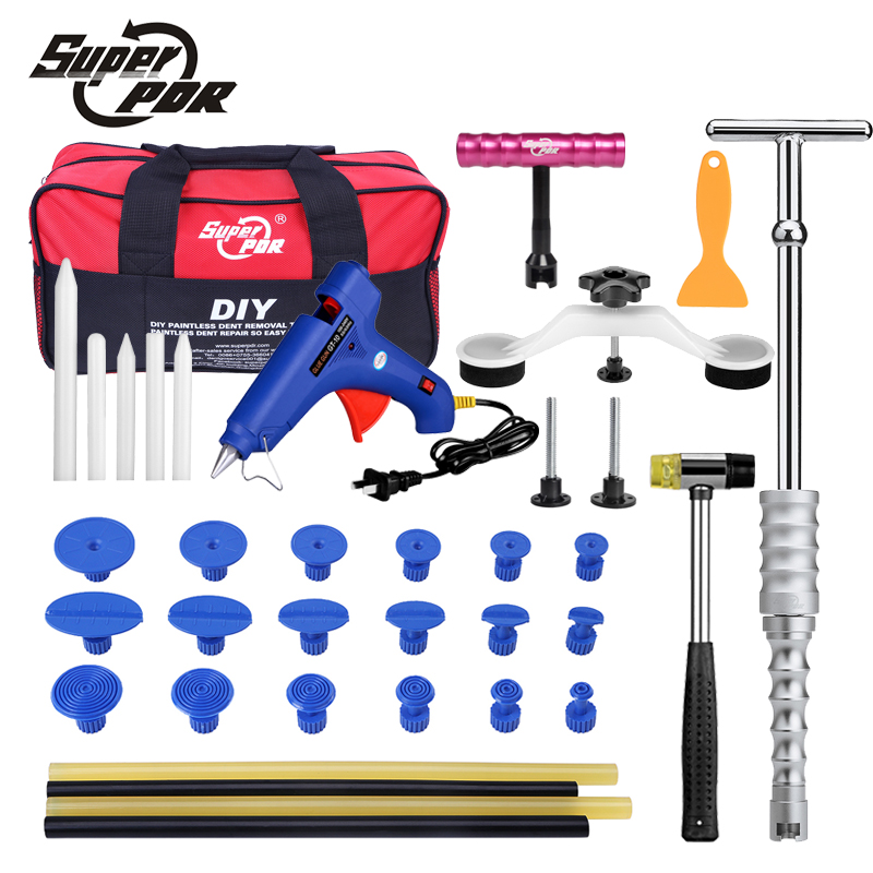 Super PDR Car Paintless Dent Removal Tools Kit dent lifter pulling bridge Glue gun Glue Tabs 34 pc dent repair Tool Set pdr rods kit with slider hammer dent lifter bridge puller set led line board glue stricks pro pulling tabs kit for pop a dent