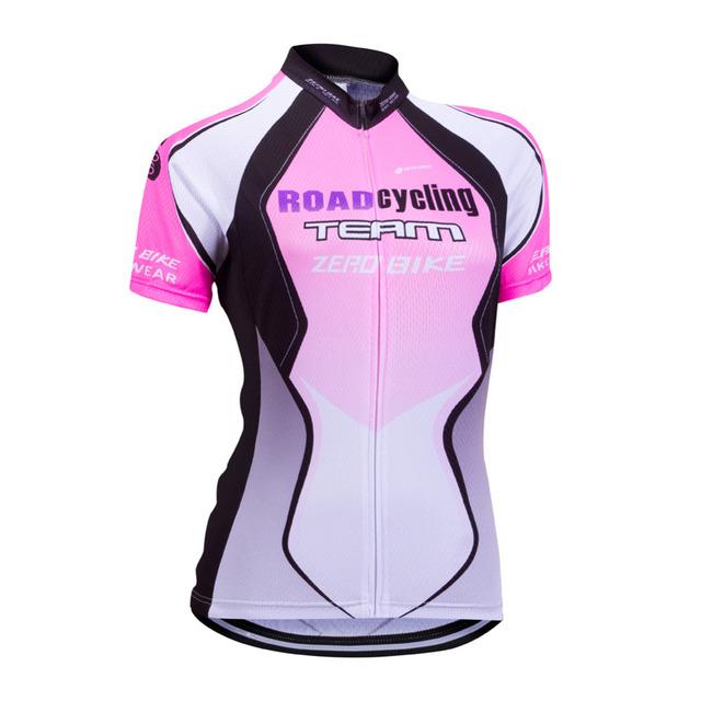 ZERO BIKE Women's Short Sleeve Cycling Jersey Quick Dry Breathable Mountain Bike Clothing Full Zip Tops Cycling Shirt XY01