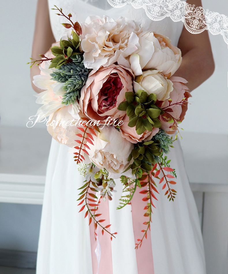 Romantic Country Style Waterfall Wedding Bouquet Champagne Bridal Bouquet Artificial Silk Flowers For Wedding Decoration S142