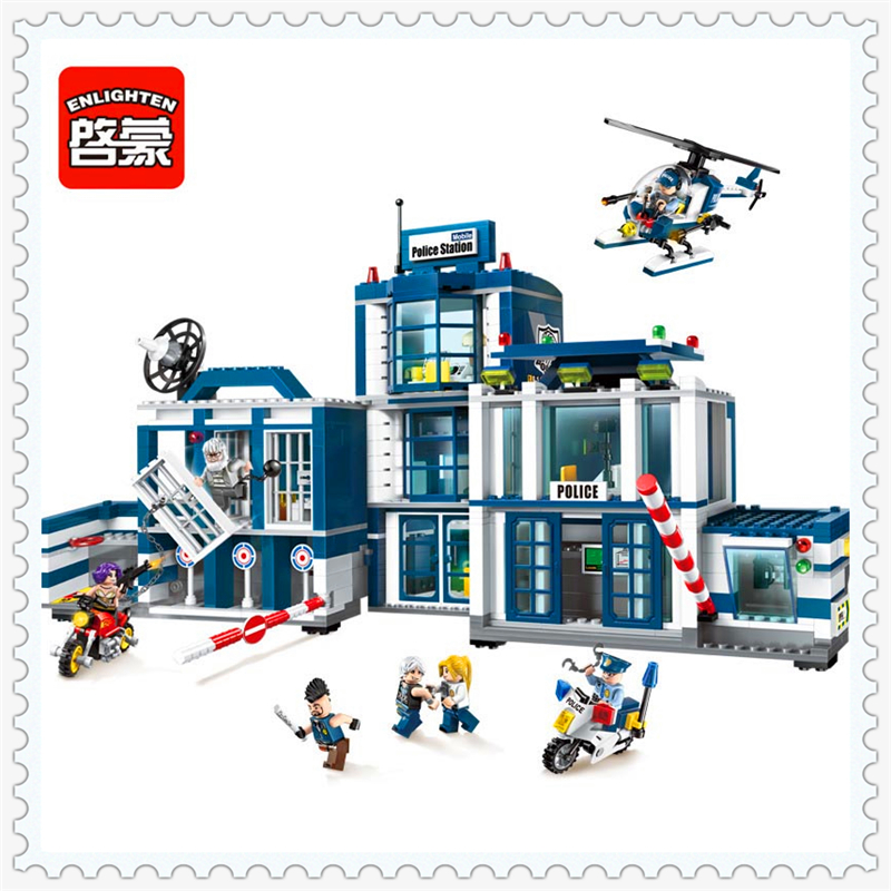 kazi city police station swat helicopter speedboat diy model building kits education toys for children festival gift for friends ENLIGHTEN 1918 Police Station Helicopter City Model Building Block 951Pcs Educational  Toys For Children Compatible Legoe