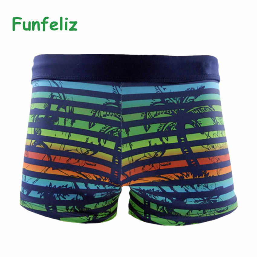 8f2a1e61f0954 ... Funfeliz Boxer Swimming Trunk for Men Nylon spandex Striped Swimsuit  Teenage Boy Swimwear Mens Swim Shorts ...