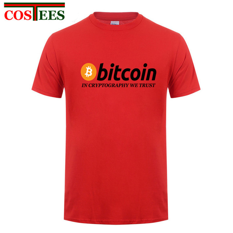New fashion Men T Shirts Bitcoin In Cryptography We Trust Men's O Collar Short Sleeve T-Shirts Funky cotton tshirt free shipping