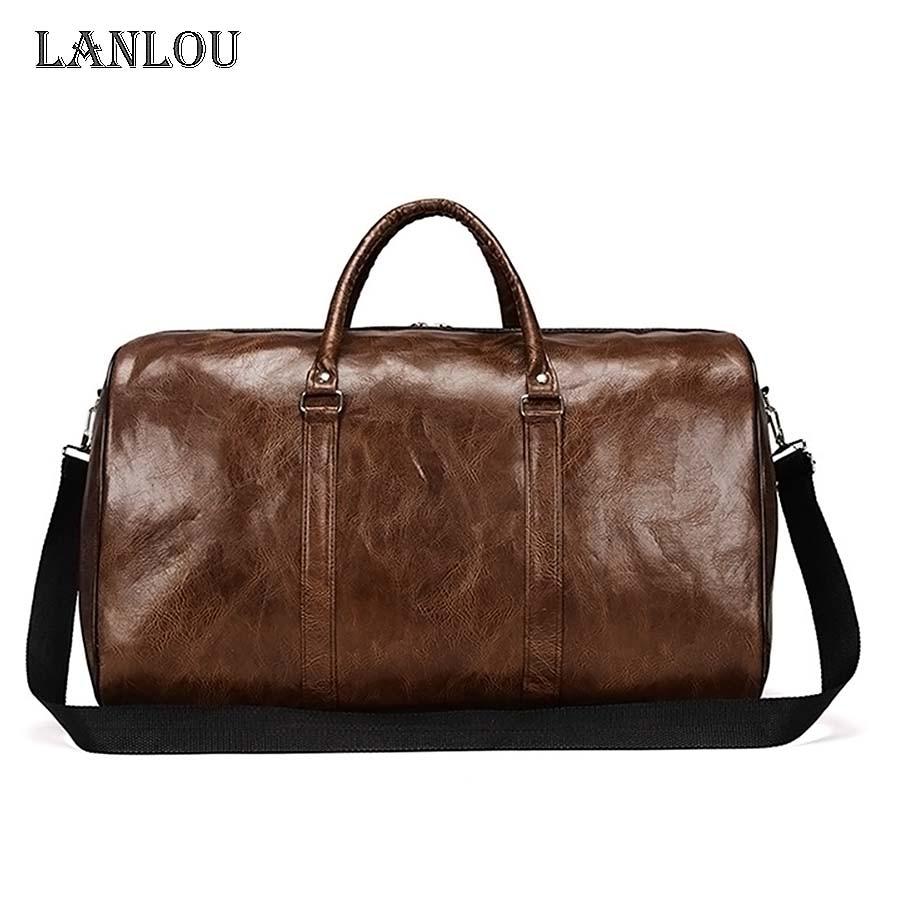 LANLOU  Travel Bag Waterproof Wear Resistant Travel Bags Unisex Handbag PU Sturdy Hand Larger Capacity Bags Sports Luggage Bag