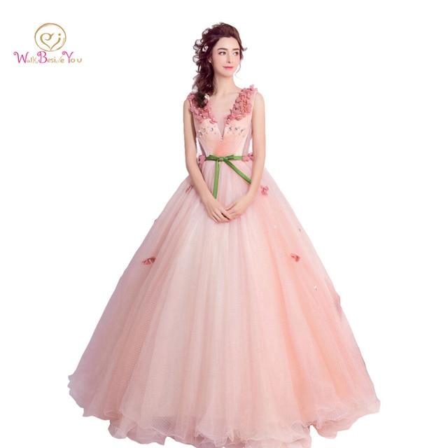 Pink Prom Dresses V neck Evening Ball Gown Vestido De Noite Longo ...
