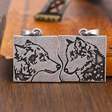 Stainless Steel Wolf Men Necklaces Pendants Punk Creative puzzle for Lovers Couples Retro and Women Jewelry Paired Gift