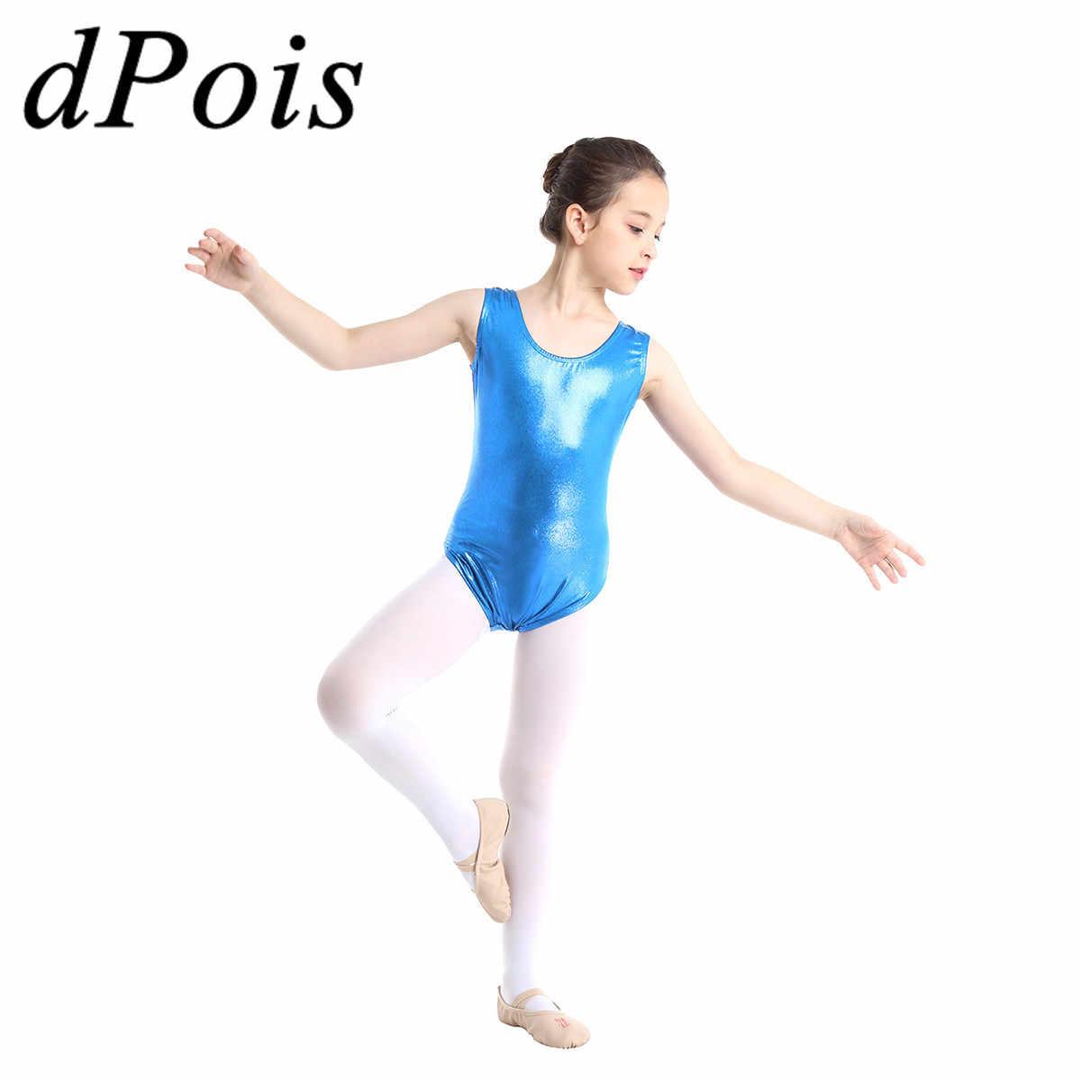 116b9b95f Toddler Kids Ballet Leotards for Girls Acrobatics Gymnastics Leotard  Sleeveless Shiny Metallic Dance Wear Ballerina Bodysuit