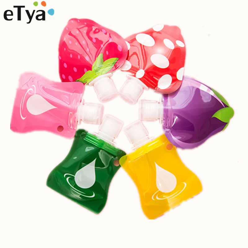 eTya 3pcs/set New Fruit Empty Travel Shampoo Shower Wash Bath Cosmetic Bottle Bath Container Bottle Bag Travel accessories double travel bottle container with comb