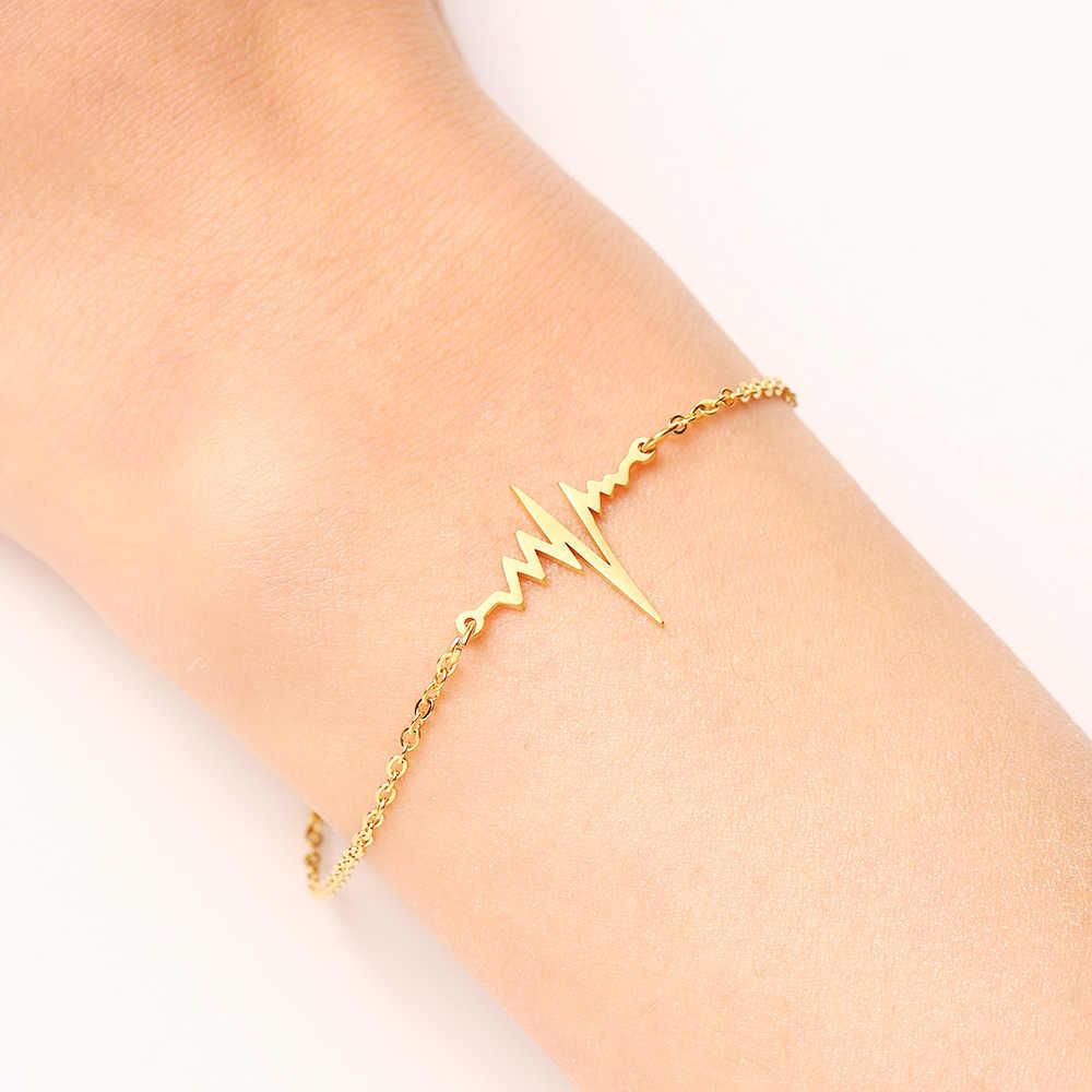 DOTIFI bransoleta ze stali nierdzewnej dla kobiet złoty i srebrny kolor ekg w kształcie Pulseira Feminina Lover's biżuteria zaręczynowa