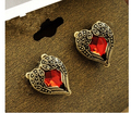 ea534 2015 best-selling New Arrival Fashion Red Peach Heart Gem Angel Wings Earrings(Red)